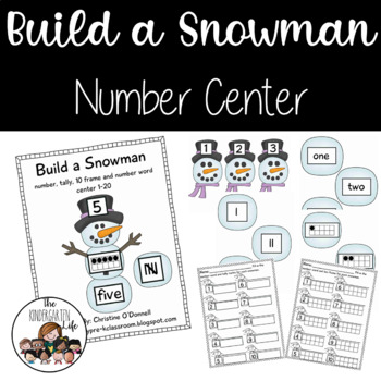 Build a Snowman Number Center: tally,ten frames, number words