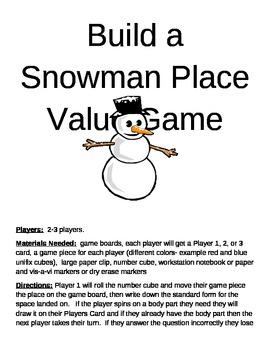 Build a Snowman Place Value Game
