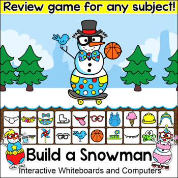 Winter Activities Build a Snowman Review Game for Any Subject - SmartBoard Game