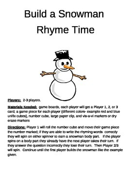 Build a Snowman Rhyme Time Game