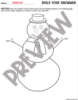 Build a Snowman SELF-CHECKING Activity - GCF and LCM