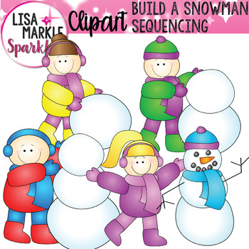 Build a Snowman Sequence Clip Art