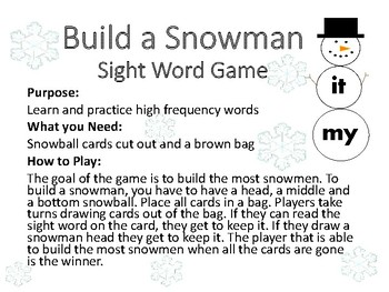 Build a Snowman {Sight Word Game}