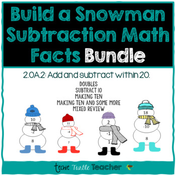 Build a Snowman - Subtraction Facts (1-20) Bundle
