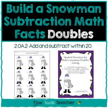 Build a Snowman - Subtraction Facts - Doubles (1-9)