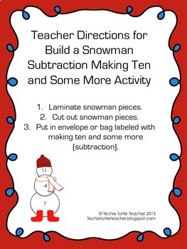 Build a Snowman - Subtraction Facts - Making Ten & Some More