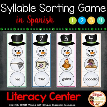 Build a Snowman Syllable Matching Game In Spanish