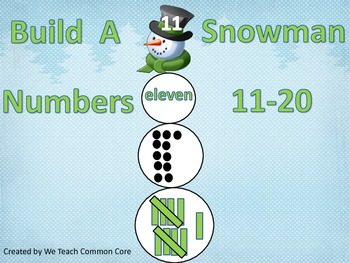 Build a Snowman Using Numbers 11-20 Math Center Activity W