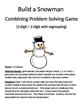 Build a Snowman Word Problems 3 Digit Addition With and Without Regrouping