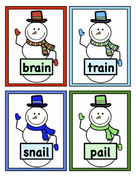 Build a Snowman Word Reading Game - Vowel Digraphs