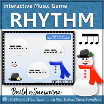 Winter Music Game: Sixteenth Notes Interactive Rhythm Game {Build a Snowman}