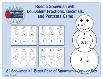 Build a Snowman with Equivalent Fractions, Decimals, and P