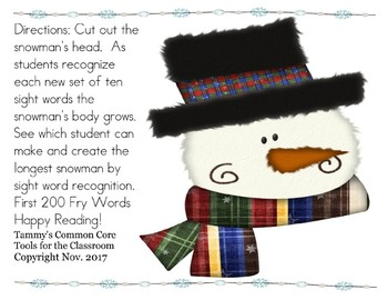 Free  Snowman (Build a Snowman)  with sight word recognition!