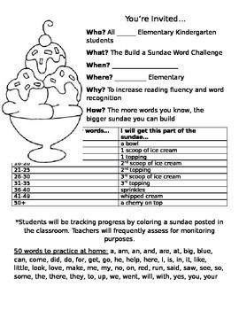 Build a Sundae word challenge