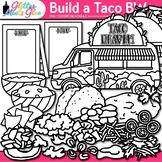 Build a Taco Clip Art: Cinco de Mayo & Spanish Graphics B&W {Glitter Meets Glue}