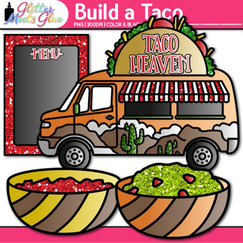 Build a Taco Clip Art | Food Graphics for Cinco de Mayo & Spanish Resources