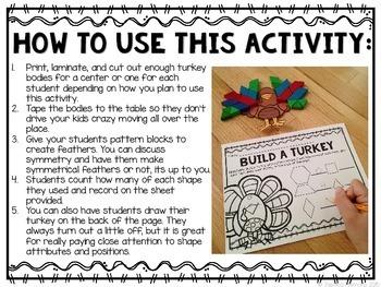 Build a Turkey: A Pattern Block Math Center