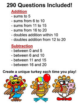 Thanksgiving Math Addition and Subtraction Build a Turkey SmartBoard Game
