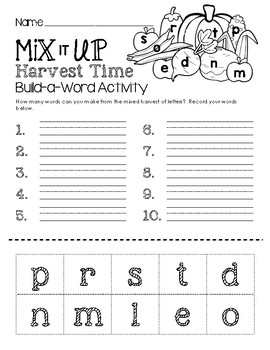 Build-a-Word Activity - Mix It Up Harvest Time