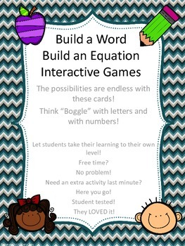 Build a Word &Build a Number Sentence/Equation Student Interactive Search Games