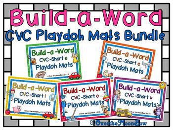 Build-a-Word CVC Short Vowel Playdoh Activity Pack BUNDLE