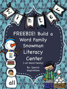 Build a Word Family Snowman Literacy Center (-all)