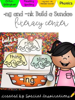 Build a Word Family Sundae! (nk & ng welded sounds activity) Orton-Gillingham