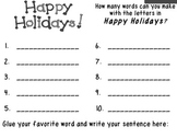 Build a Word, Happy Holidays, K-2