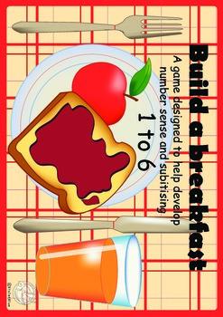 Maths Centre Game: Build a breakfast- subitising game 1-6 (Kindergarten/PreK)