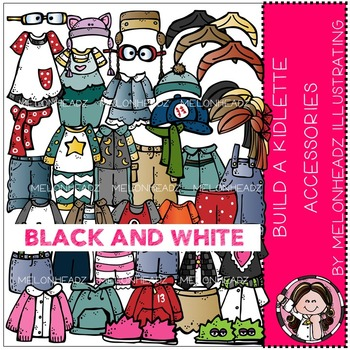 Melonheadz: Build a kidlette Accessory clip art - BLACK AND WHITE