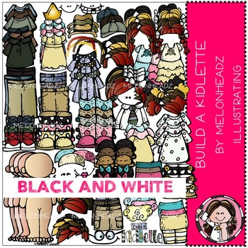 Build A Kidlette clip art - BLACK AND WHITE- by Melonheadz