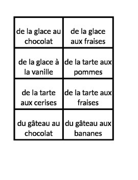 Nourriture (Food in French) Build a meal game