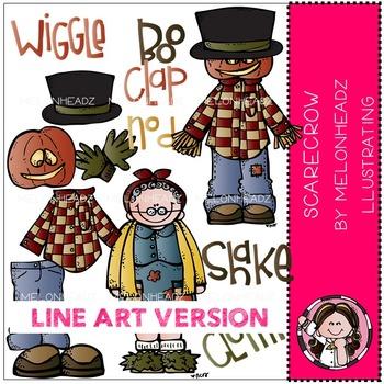 Melonheadz: Build a Scarecrow clip art - LINE ART
