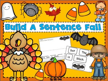 Build a sentence with fall words - Halloween,Thanksgiving, Pilgrims Turkeys