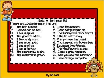 Build a sentence with fall words - Halloween,Thanksgiving, Pilgrims Turkeys