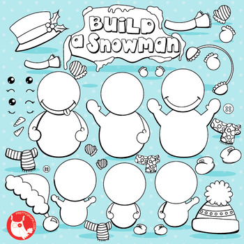 Build a snowman stamps commercial use, vector graphics, images  - DS1040