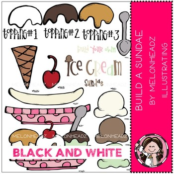Melonheadz: Build a Sundae clip art - BLACK AND WHITE