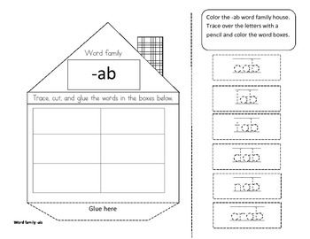 Build -ab word family homes activity/project set. Free no-prep printable