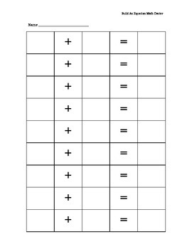 Build an Equation Math Center