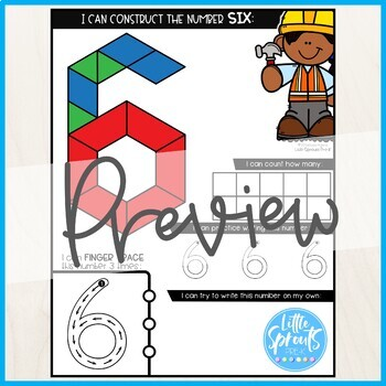 Build and Write Number Learning Mats, NUMBERS 0-20, PreK, Kinder, Preschool