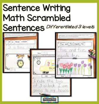 Read, Build, Write Sentences - Math Beginning of the Year Activities