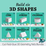 Build six 3D shapes – foldable geometry net bundle 1