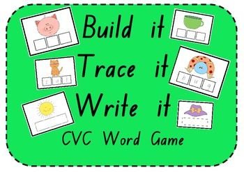 Build it, Trace it, Write it - CVC Word Activity with 72 Game Cards!