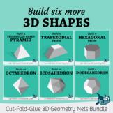 Build Six More 3D Solid Shapes – Foldable Geometry Net Bundle 2