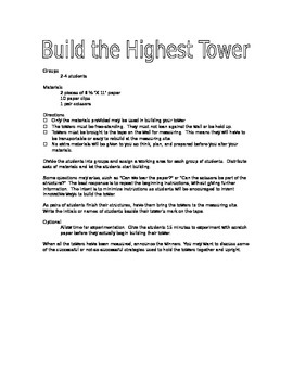Build the Highest Tower Activity