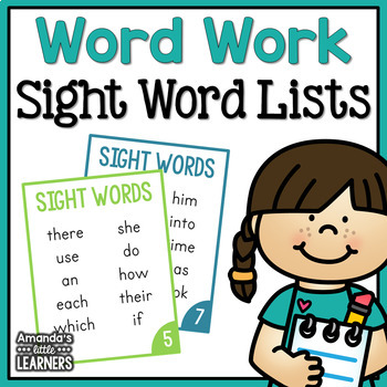 Word Work Sight Word Cards