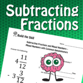 Build the Skill - Subtracting Fractions