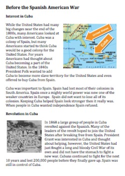 Build up to the Spanish American War Reading and Handout: Easy Read