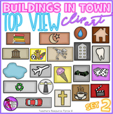 Birds eye view of buildings clip art - set 2