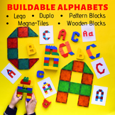 Alphabet STEM BUNDLE: Lego, Duplo, Magna-Tiles & Pattern Block Letters